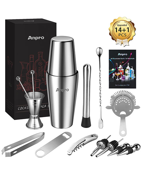 Anpro 15Pcs Cocktail Mix Set, 304 Stainless Steel,Boston Style Mix Set, Including Shaker,Cocktail Shaker, Filter, Stirring Spoon etc, Suitable for Beginners or Bartenders