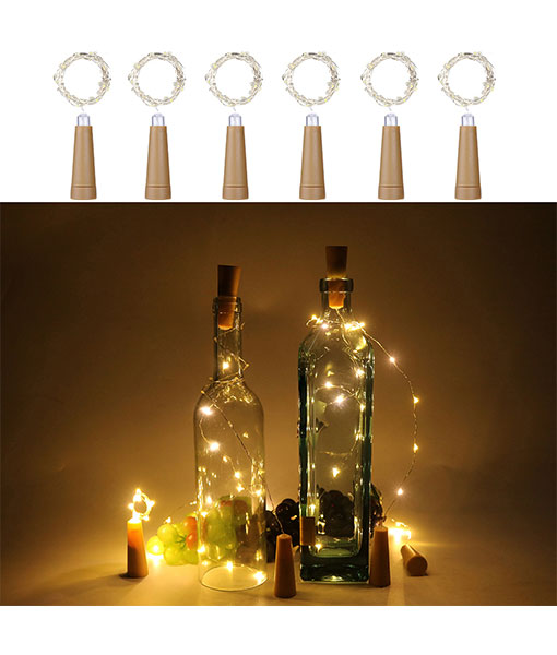 Anpro 6 Pack Wine Bottle Lights, Warm White Cork Lights String Lamp by 3A Battery Operated, for Christmas Party, DIY Decor Party and Wedding Valentine's Day Gift