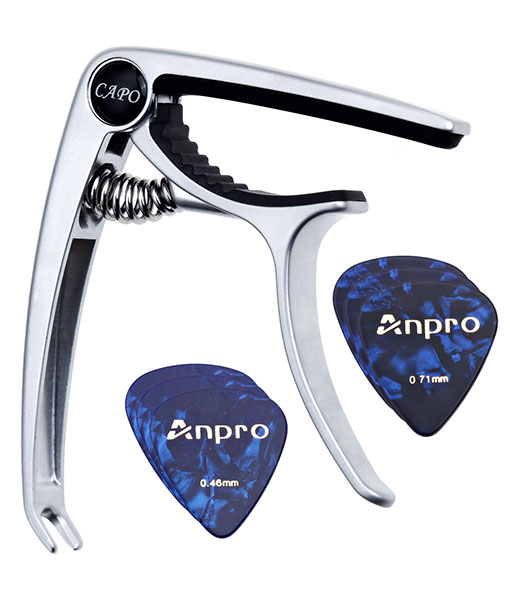 Anpro Capo Capo for Guitar (silver) +6 Picks (0.46, 0.71mm each 3pcs)