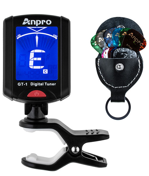 Anpro GT-1 Guitar Tuner Tuner 360 Degree Rotation Digital Bell 12PCS LCD Display Picks with Bag for Violin, Chromatic Ukulele Suitable for Tempered Range