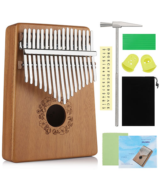 Anpro Kalimba Thumb Piano 17 Keys with Tuning Hammer, Mahogany Wood Piano Instrument for Beginners and Children-17 Key Kalimba, Mahogany Thumb Piano Instrument with Tuning Hammer
