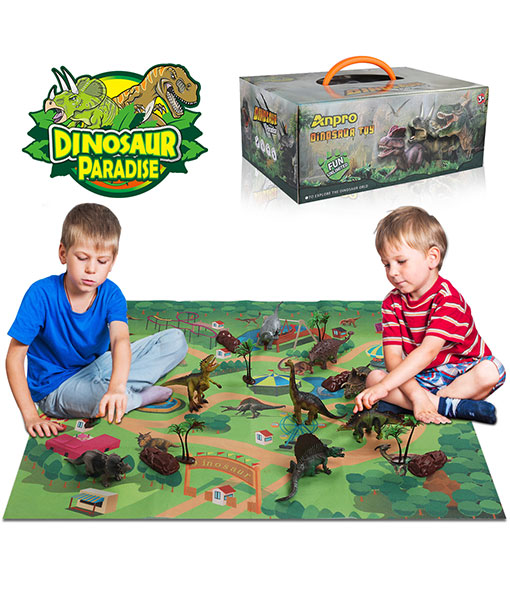 Anpro dinosaur toys, 15pcs dinosaur figures with 50 dinosaur stickers, play mats & trees for children boys and girls