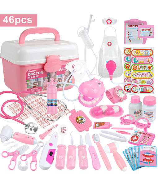Anpro 46pcs Doctor's Case Medical Toys Role Play Toy Set, Doctor Case Doctor Playset Role Play Kit Gifts for Children (Pink)