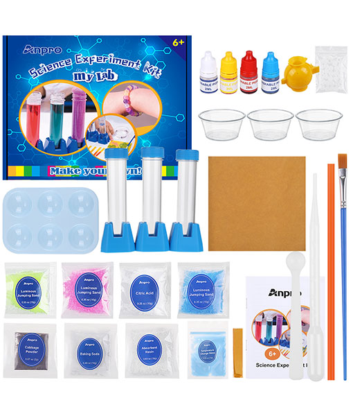 Anpro Scientific Experiment Set, 15 scientific experiments, scientific experiment kit for children, with experimental instruments and materials