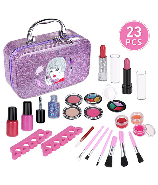 Anpro 23pcs make-up set, make-up set for girls, washable cosmetics make-up toys for children gift