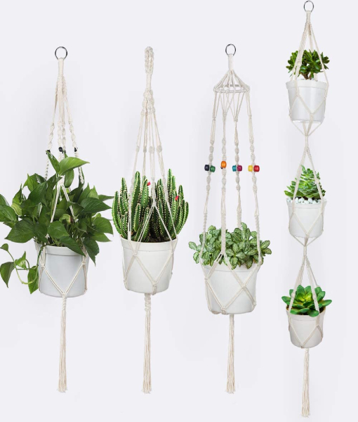 Anpro 4Pcs Macrame Plant Hanger, White Handmade Cotton Rope,Indoor Outdoor Hanging Plant Pot