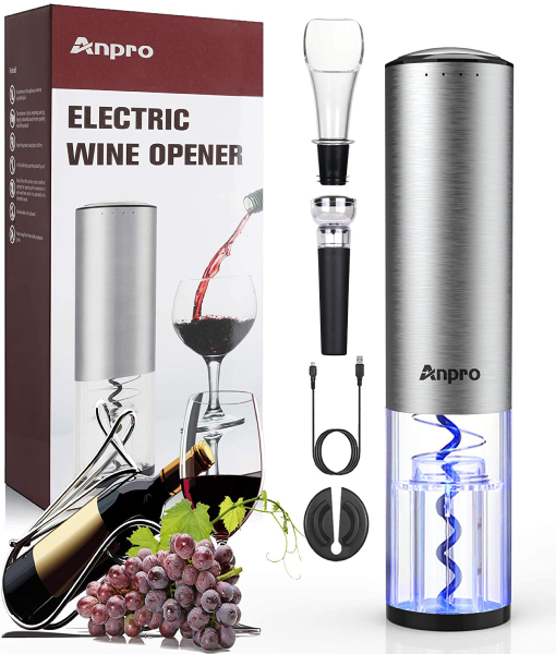Anpro Fully Automatic Bottle Opener, Wine Pourer, Foil Cutter, Vacuum Cork, USB Charging Cable, for All Wine and Wine Lovers, Christmas, Father's Day, Valentine's Day, etc.