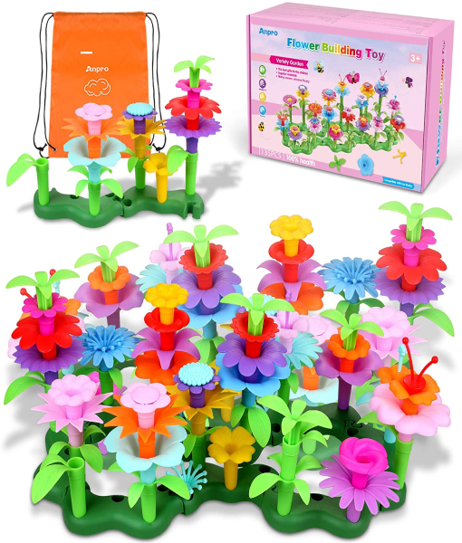 Anpro Flower Garden Building Toys, 135pcs STEM Toys Pretend Gardening Sets Toy for Kids, Build a Bouquet Sets Preschool Educational Toys, with a Storage Bag, Kids Christmas Birthday Gifts