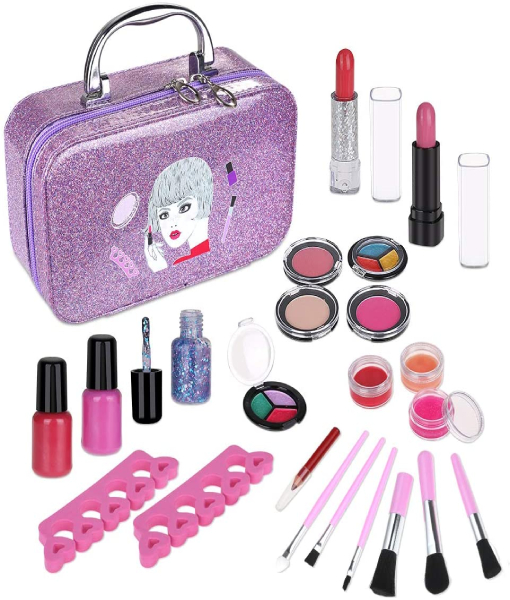 Anpro 23Pcs Children's Washable Makeup Set, True Color Cosmetics, Unique Makeup, Nail Polish Set For Girls Toy
