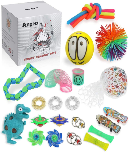 Anpro 24pcs Fidget Toys,Sensory Toys for Autism ADHD People, Stress Balls Anxiety Relief, Stress Relief and Anti-Anxiety Gift for Adults,Party Bag Fillers